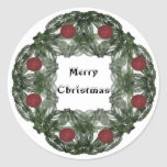 Fractal Art Christmas Wreath with Red Ornaments Classic Round Sticker
