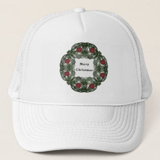 Fractal Art Christmas Wreath with Red Ornaments Trucker Hat