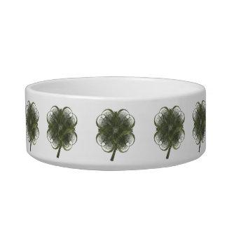 Fractal Art Four Leaf Clovers Cat Food Bowl