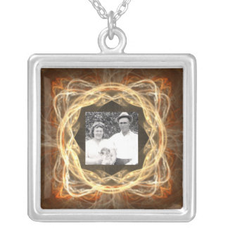 Fractal Art Framed Photo Silver Plated Necklace
