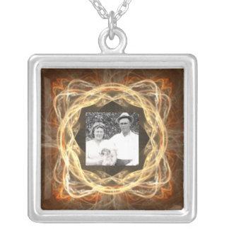 Fractal Art Framed Photo Square Pendant Necklace