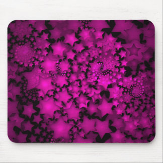 Fractal Art Hot Pink Neon Stars Mouse Pad