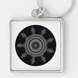 Fractal art in Black and Gray. Key Chains