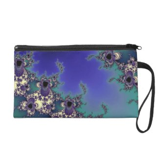 Fractal Art in Blues and Greens Evening Bag Wristlet Clutches