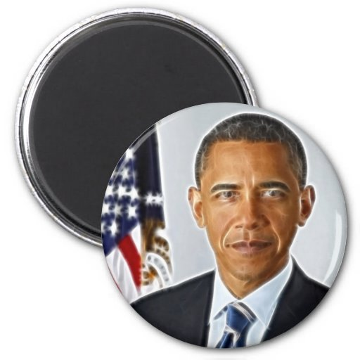 Fractal Art, Official Portrait Barack Obama Fridge Magnet