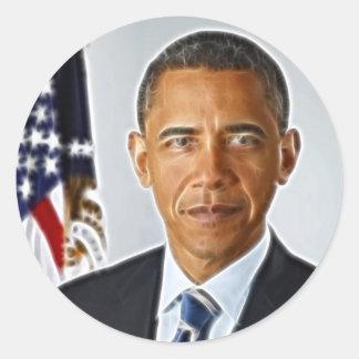 Fractal Art, Official Portrait Barack Obama Classic Round Sticker