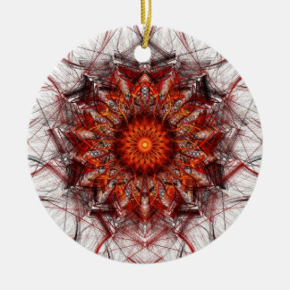 Fractal Art Ornament: Scorching Sun Ceramic Ornament