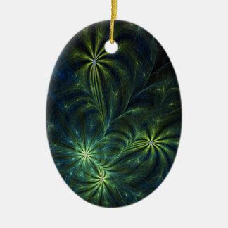 Fractal Art Ornament: Weed Ceramic Ornament
