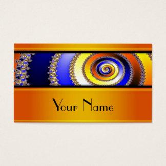 Fractal Art Spiral - blue yellow + your text Business Card