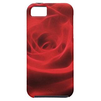 Fractal artístico floral de la flor del rosa rojo iPhone 5 funda