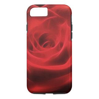 Fractal artístico floral de la flor del rosa rojo funda iPhone 7