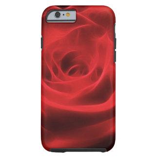 Fractal artístico floral de la flor del rosa rojo funda resistente iPhone 6