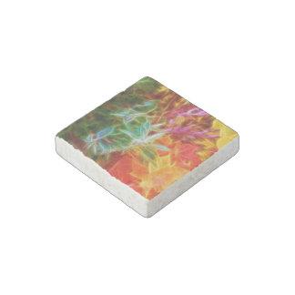 Fractal Autumn Leaves Rainbow Stone Magnet