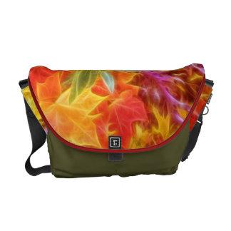 Fractal Autumn Leaves Rainbow Messenger Bag