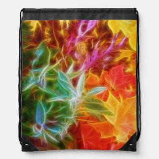 Fractal Autumn Leaves Rainbow Drawstring Bags