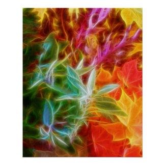 Fractal Autumn Leaves Rainbow Poster