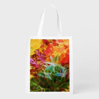 Fractal Autumn Leaves Rainbow Grocery Bag