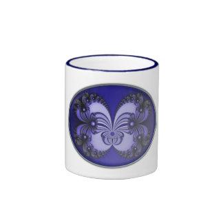 Fractal azul 200706070030 de la mariposa taza