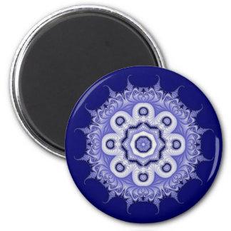 Fractal azul 200706072332 de la mandala imán redondo 5 cm