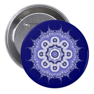Fractal azul 200706072332 de la mandala pin redondo 7 cm