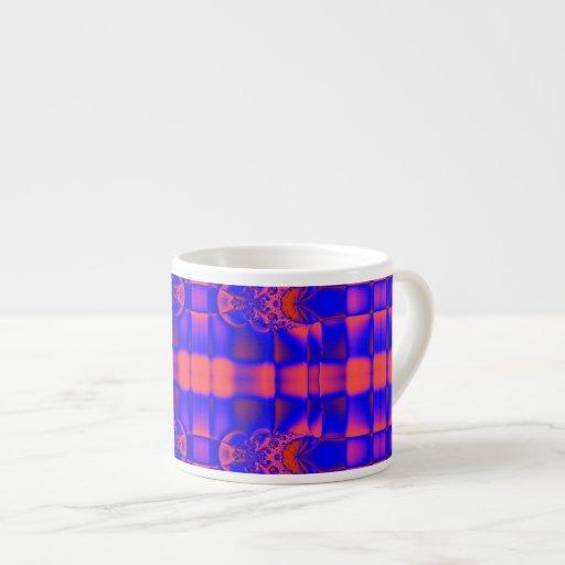 fractal azul anaranjado brillante taza espresso