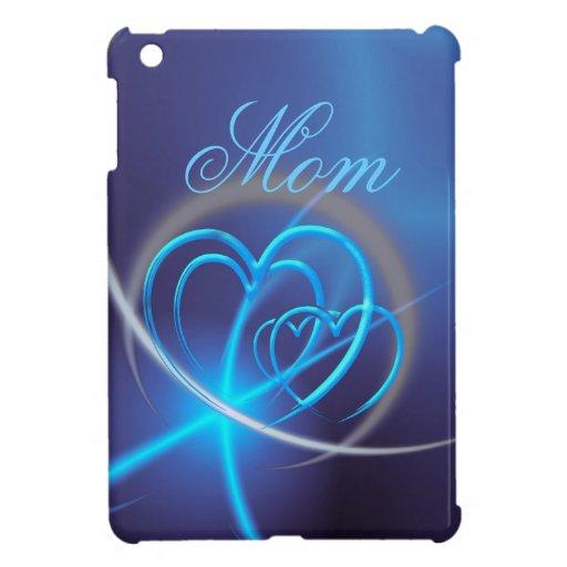 Fractal azul con los corazones de neón iPad mini protector