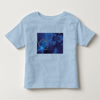 Fractal azul con los corazones de neón remeras
