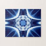 Fractal azul de la joya de la explosión de la luz puzzles con fotos