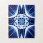 Fractal azul de la joya de la explosión de la luz rompecabezas con fotos