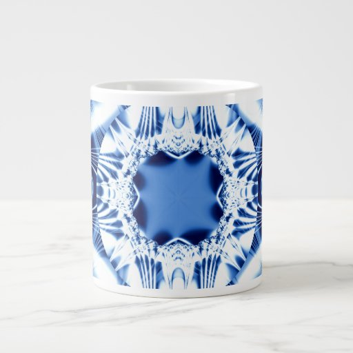 Fractal azul de la joya de la explosión de la luz tazas extra grande