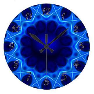 Fractal azul de la luz laser reloj redondo grande