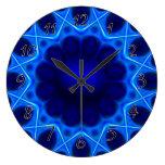 Fractal azul de la luz laser relojes de pared