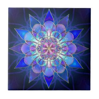 Fractal azul de la mandala de la flor azulejo cuadrado pequeño