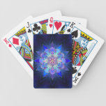 Fractal azul de la mandala de la flor baraja cartas de poker