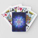 Fractal azul de la mandala de la flor cartas de juego