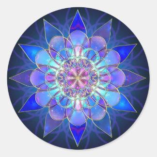 Fractal azul de la mandala de la flor pegatina redonda