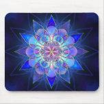 Fractal azul de la mandala de la flor tapete de ratón