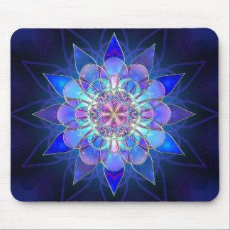 Fractal azul de la mandala de la flor alfombrillas de ratones