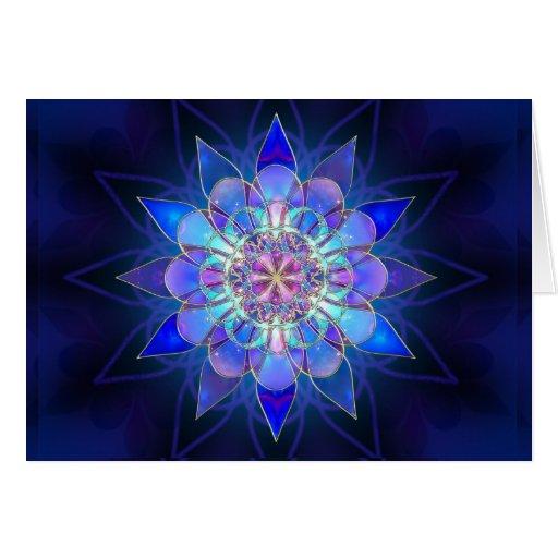 Fractal azul de la mandala de la flor tarjeta de felicitación