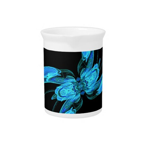 Fractal azul de Swirly Jarra Para Bebida