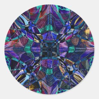 Fractal azul del caleidoscopio etiquetas redondas