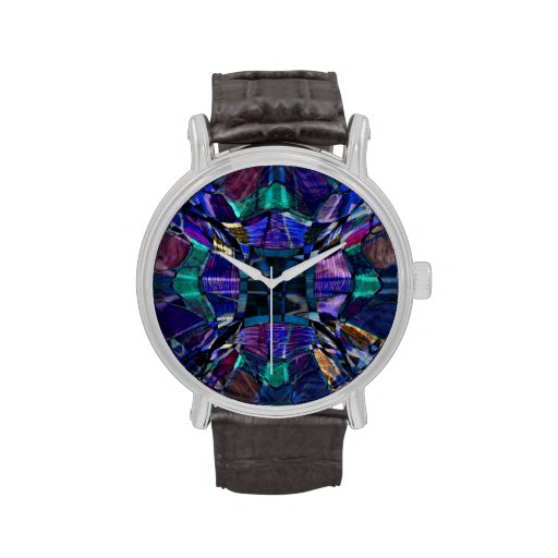 Fractal azul del caleidoscopio reloj