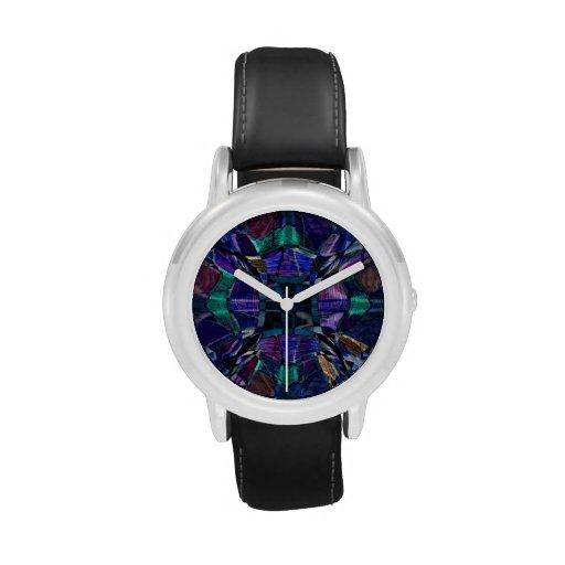 Fractal azul del caleidoscopio relojes de pulsera