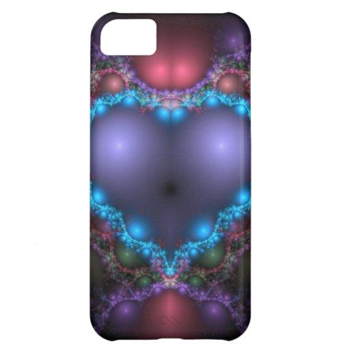 Fractal azul del corazón funda para iPhone 5C