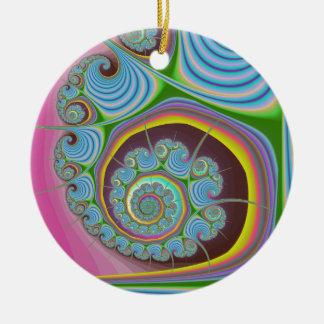 Fractal azul del espiral del Seashell Adorno