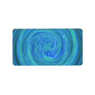 Fractal azul del extracto del espiral del orbe de etiqueta de dirección