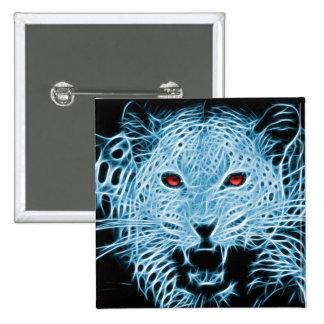 Fractal azul del leopardo de Digitaces Pin Cuadrado