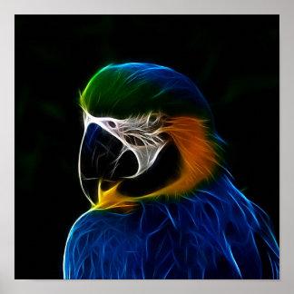 Fractal azul del loro de Digitaces Póster