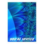 Fractal azul del rastro invitación 12,7 x 17,8 cm
