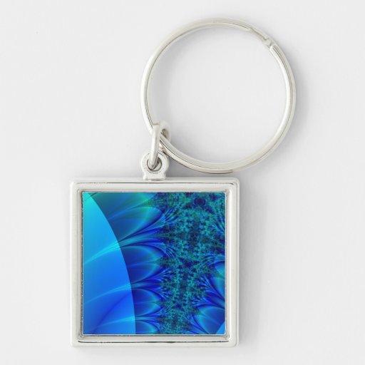 Fractal azul del rastro llavero personalizado